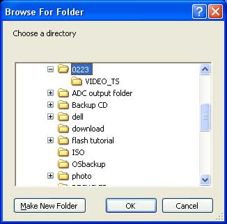 Browse DVD folder on hard drive for converting with HandBrake.