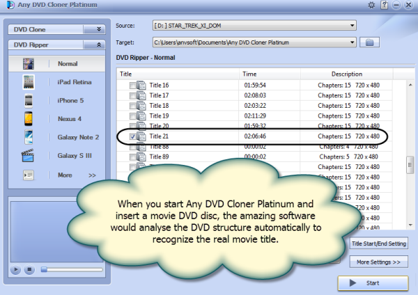 Analysing DVD structure automatically to recognize the real movie title.