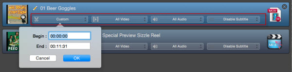 Output video setting