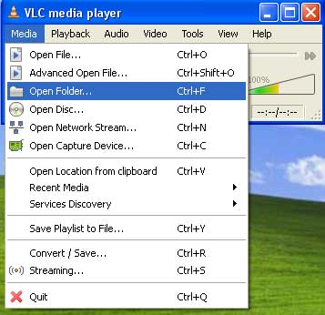 Open DVD folder on hard drive with VLC Media Player. DVD folder is copied from DVD to hard drive by DVDSmith Movie Backup.
